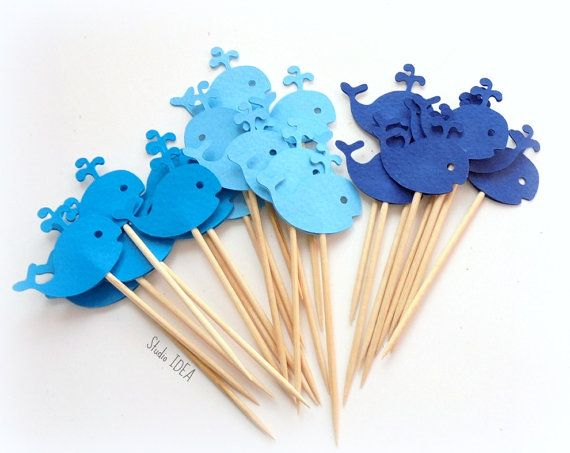 Mixed Blue Baby Whale Cupcake Toppers Food Picks-Set by StudioIdea