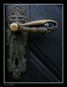 ancient door handle at the norhern portal of the dome of Bardowick.
