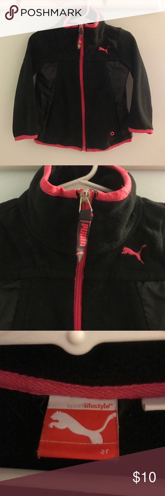 ✨BOGO (see description) Puma Sport Fleece Medium weight black Puma sport fleece zip- up with pockets. There are windbreaker type material on the sides, but those areas are fully lined with fleece as well. No tears or stains. Some piling around wrists and bottom hem. GUC. BOGO half off toddler jackets! Puma Jackets & Coats