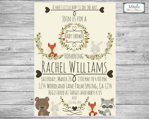 This Adorable Woodland Invitation Is Perfect For Woodland Theme Baby Shower!  ▻ Invitation Will Be