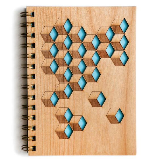 Wooden Cubes Journal  Product Details - Beautiful handcrafted / assembled wood cover journal - 5.25x 7.25 Cover (5x7 Pages) - 80 blank sheets // 160