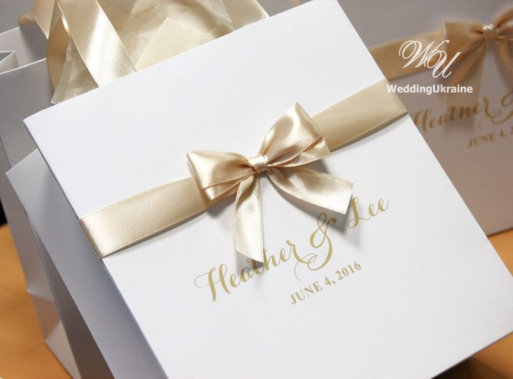 Champagne Wedding Welcome Bags with satin ribbon, bow and names - White and Champagne - Personalized Paper Bags - Weddings Gifts Favors by WeddingUkraine on Etsy https://www.etsy.com/listing/449285178/champagne-wedding-welcome-bags-with