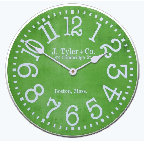 This Lime Green Clock Looks Great With Its Vibrant Green Color And Vintage  Style Typeface.