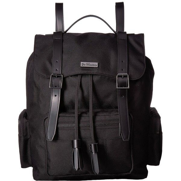 Dr. Martens Utility Large Slouch Backpack (Black Nylon) Backpack Bags ($152) ❤ liked on Polyvore featuring bags, backpacks, faux-leather backpacks, strap backpack, draw string backpack, drawstring flap backpack and slouchy backpack