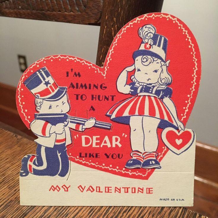 Vtg Valentine's Day Card WWII Patriotic Yankee Doodle Dandy Girl & Boy