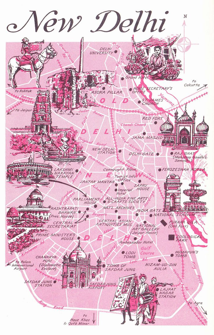 Old Map of New Delhi, India                              …