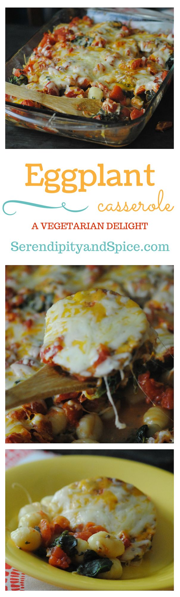 This Eggplant Casserole Recipes is a delicious vegetarian meal that's packed full of flavor! One dish meals are the BEST and this eggplant casserole recipe does not disappoint! ~ http://serendipityandspice.com
