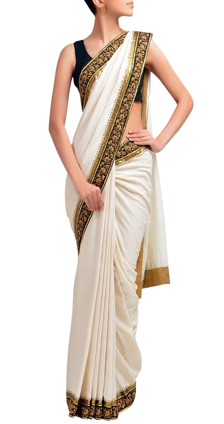 #white #gold #saree #blue #blouse