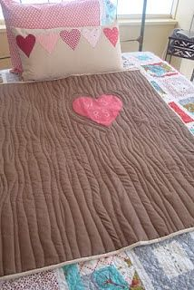 Sew a Tree quilt with initials carved in it. No straight lines needed! SO cute!!