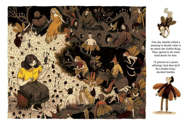 Last colour spread from my children's book, about Imelda, a human girl, and her friendship with the fairies. They are bullied by a Gob...