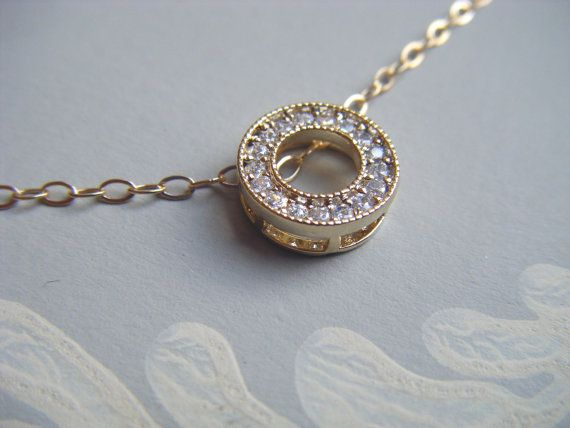 "Eternity pendant , cubic zirconia circle pendant ,  18"" filled gold chain , bridal pendant , simple pendant , bridesmaid jewelry on Etsy, £17.50"