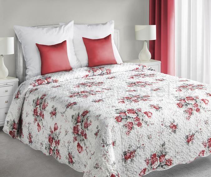 Oboustranné přehozy na postel bílé barvy s květinovým vzorem