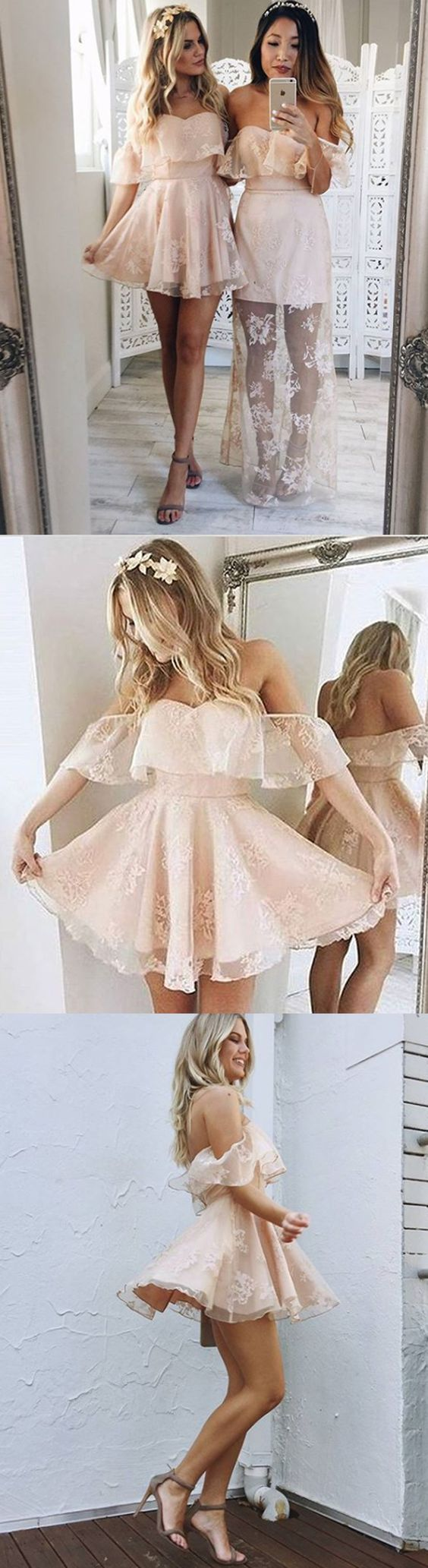 Short Pearl Pink Lace Homecoming Dress, Off-the-Shoulder pearl pink prom dresses, Cute Lace Party Dresses for girls