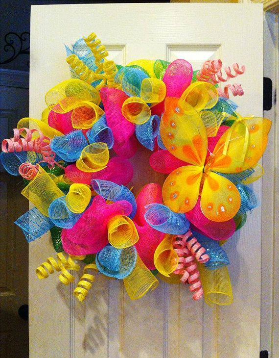 Summer Butterfly Deco Mesh Wreath by SouthernCharmDecorSP on Etsy, $70.00
