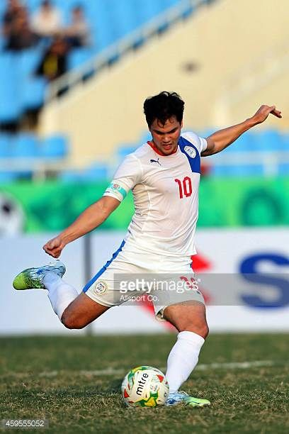 Philip James of the Philippines scores from the penalty against Indonesia during the 2014 AFF Suzuki Cup Group A match between Philippines and...