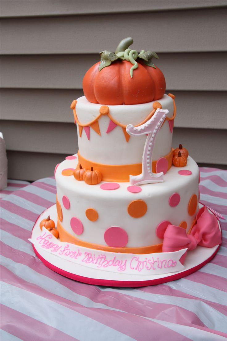 "Orange and Pink Fall Festival Birthday Cake! ""little pumpkin 1st birthday"""