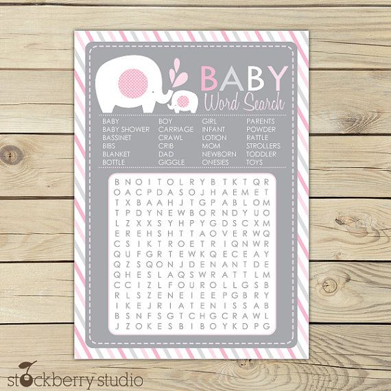 Elephant Baby Shower Pink & Gray Printable Word Search Game - Instant Download via Etsy
