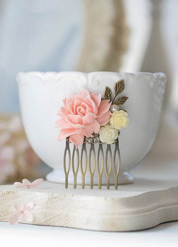 Blush Pink Cream Ivory Flower Bridal Hair Comb Antique Gold Leaf Branch Hair…