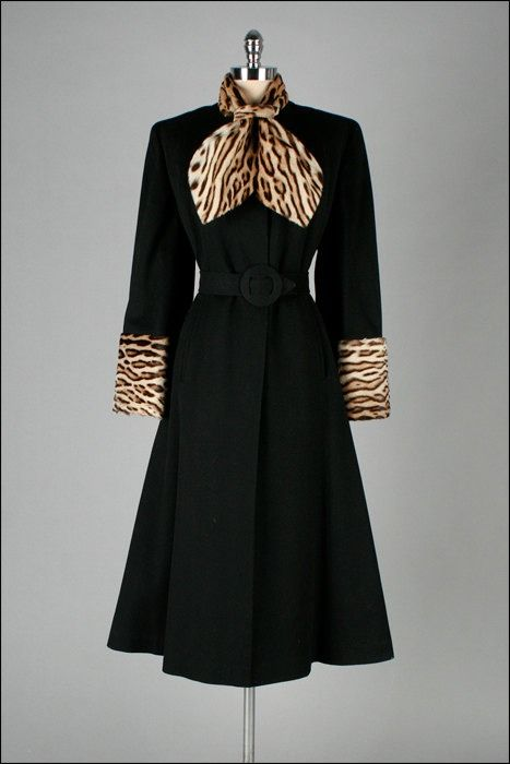 1940s Coat Black Wool Black Satin Lining Single Button