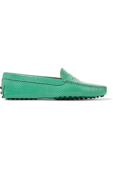 Tod's - Gommino Snake-effect Leather Loafers - Jade - IT