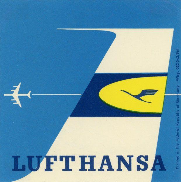 Lufthansa crane and plane label
