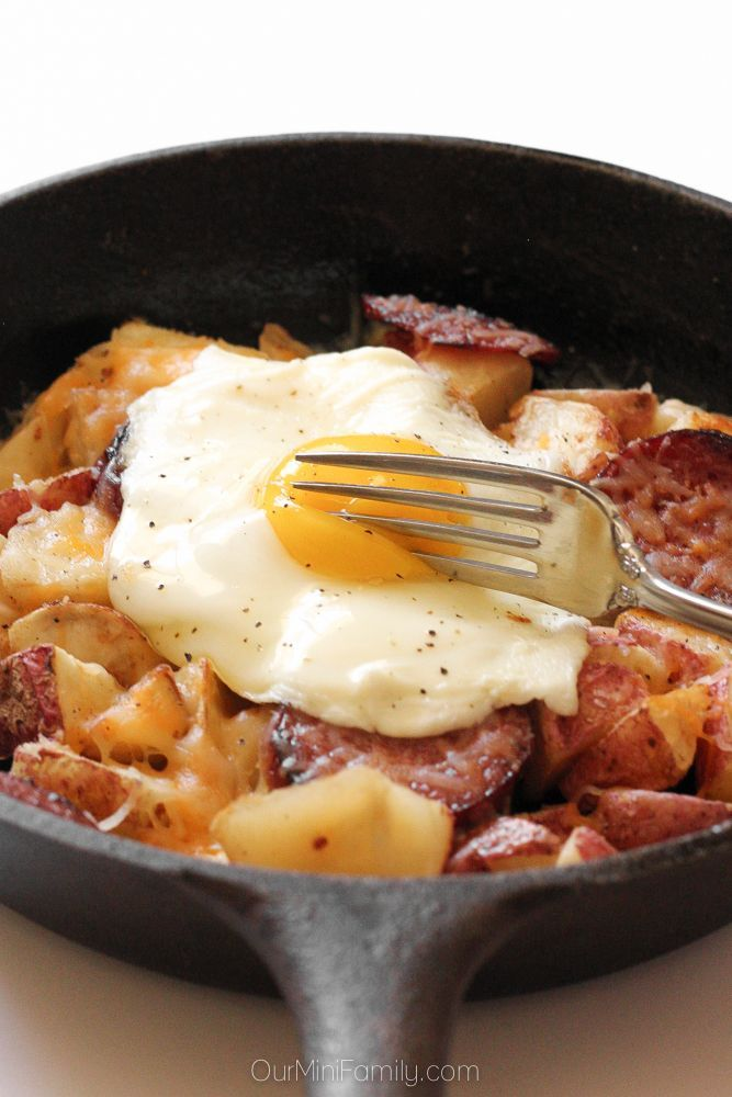 These breakfast skillet potatoes with egg, cheese, and caribou sausage are hearty and perfect for weekend brunch.