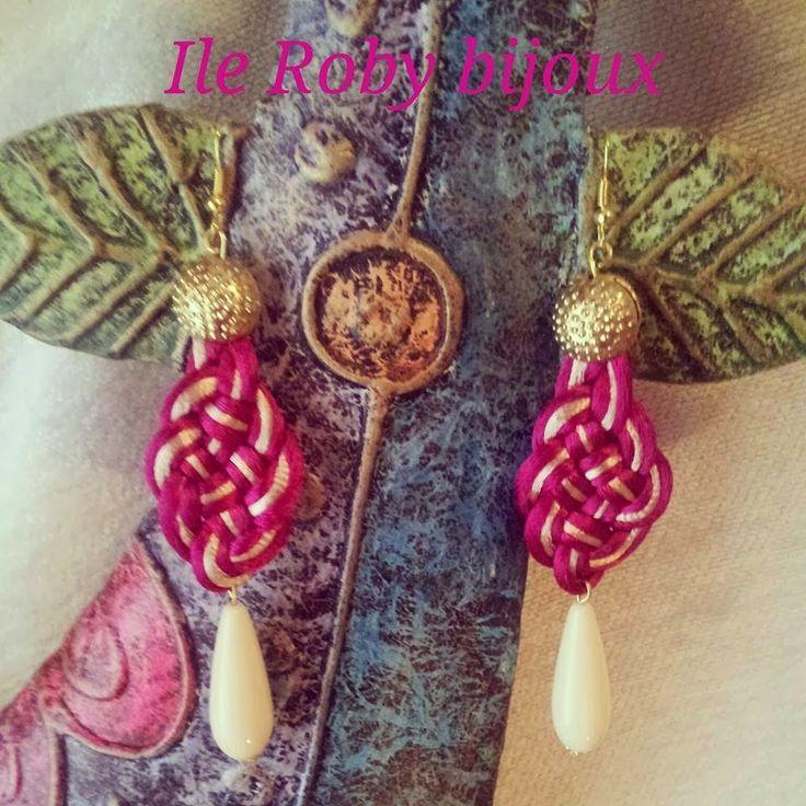 orecchini a nodo, collezione intrecci colorati fatti a mano