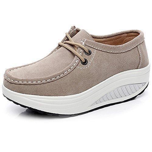 Oferta: 29.9€ Dto: -48%. Comprar Ofertas de Shenn Mujer Suave Ante Enredaderas Zapatillas Cómodo Plataforma Aptitud Zapatos Beige 1061 EU39.5 barato. ¡Mira las ofertas!