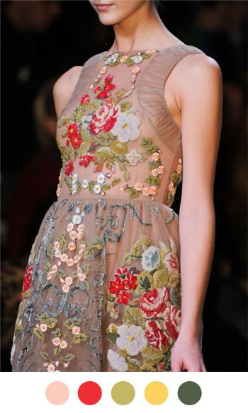 Pink, red, sage, mustard, and taupe color palette by Color Collective based on a Valentino dress