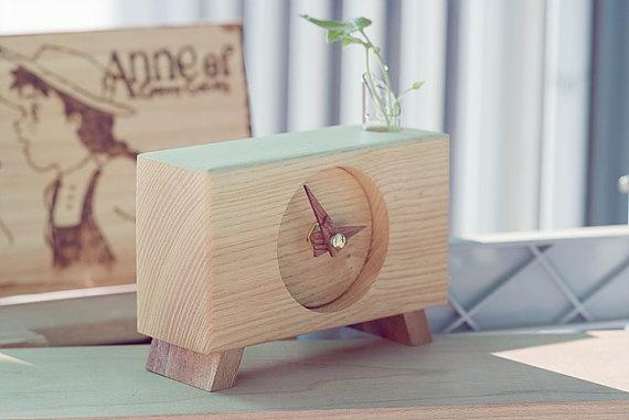 Hand made Ash wood Clock Desk clock  Leg by Namuwana on Etsy, $30.00