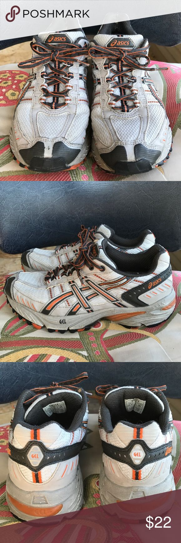Asics Gel tennis shoes Woman's size 7 have lots of miles on them but lots of life left. Asics Shoes Athletic Shoes