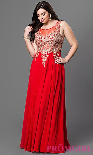 Illusion Top Floor Length Plus Dress at PromGirl.com