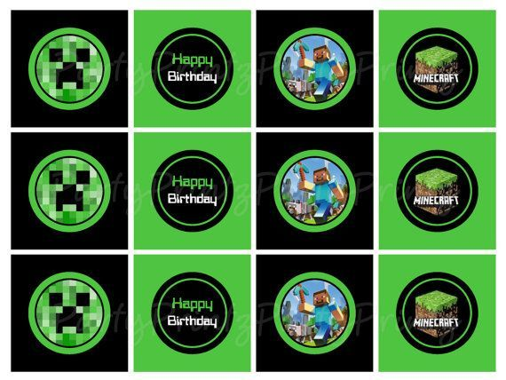 Minecraft Cupcake Labels Instant Download Printable