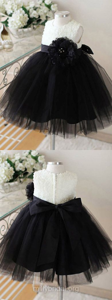 Black Flower Girl Dresses Ankle-length, Tulle Junior Bridesmaid Dresses Cute, Tutu Flower Girl Dresses Scoop Neck