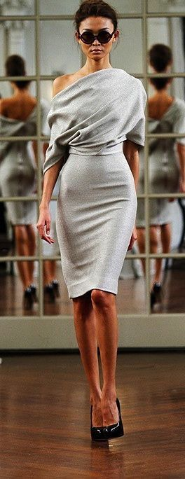 Pale gray wool dress. Sexy and sophisticated.