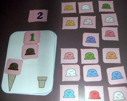 Le jeu de la glace Pour dénombrer de petites quantités (1 à 5)...