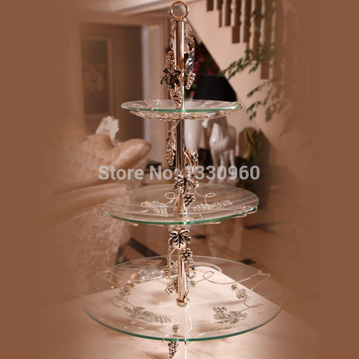 Aliexpress.com: Comprar Alta calidad y el lujo del vidrio cristalino y del arte del hierro soporte de la torta, cake stand de 3 tier, soporte para la torta de arte de la pared de cristal decorado fiable proveedores en Forher Living Museum