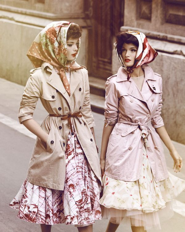 Italian: Old Schools, Fashion Scarves, Full Skirts, Head Scarfs, Trenchcoat, Dresses, Headscarves, Trench Coats, Vintage Style