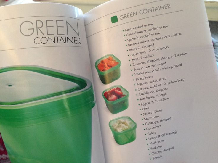 21 day fix green | each size container has a page of examples.