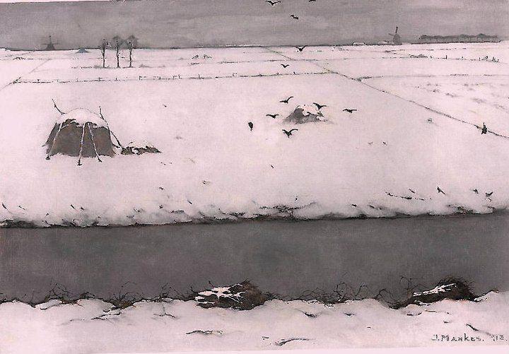 Snow landscape with ditch