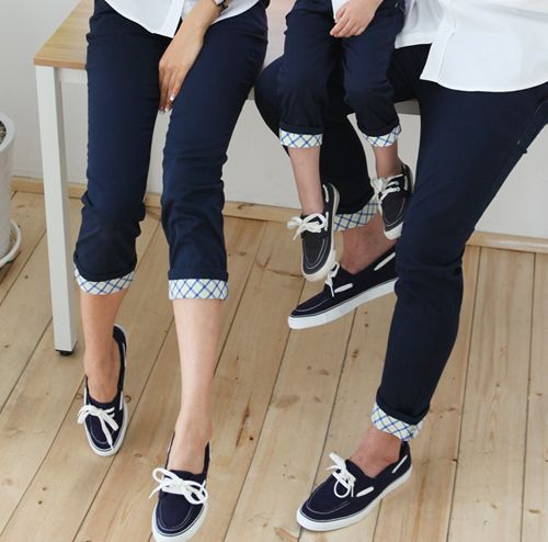 [FUNNYLOVE] CHECKERED TRIM ANKLE PANTS