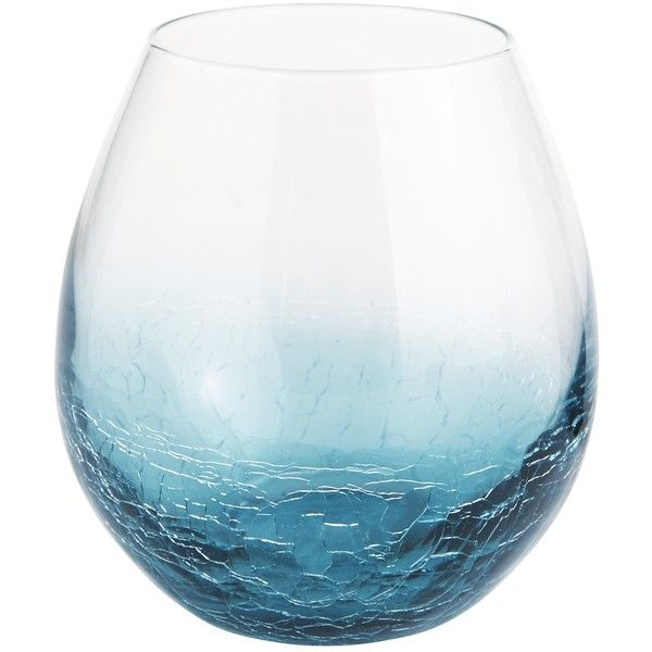 Pier 1 Imports Blue Crackle Teal Stemless Wine Glass ($4.76) ❤ liked on Polyvore featuring home, kitchen & dining, drinkware, blue, stemless glassware, stemless wine glasses, crackle wine glass, crackle glassware and blue wine glass