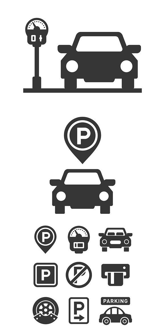Car Parking Icons And Signs Set Icon Parking Car Icons Car Parking