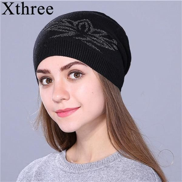 2b87a9a7ee01c3 xthree female Fall spring skullies beanies thin Knitted Hat For Women girl  Wool Cap Cord Bow Girl Brand New