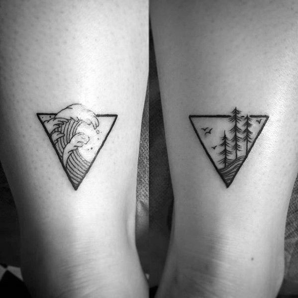 Mens Triangle Nature Simple Wave Back Of Leg Tattoos