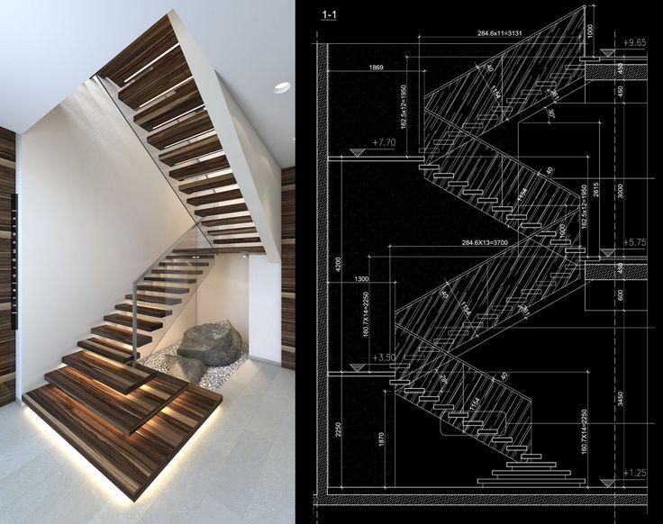 Modern Villa Interior Project. Saudi Arabia. Staircase and drawings.