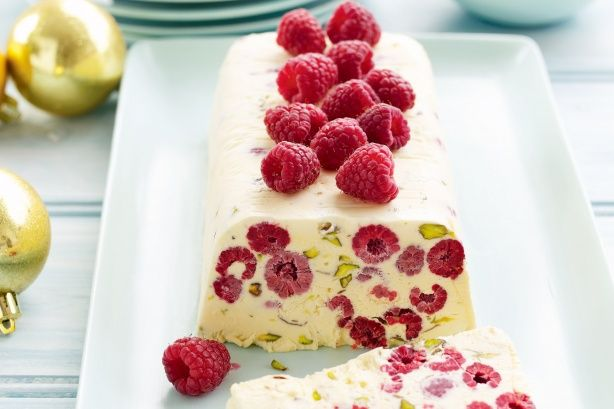 Create a festive dessert with a difference with this spectacular Pistachio, raspberry and rosewater semifreddo.