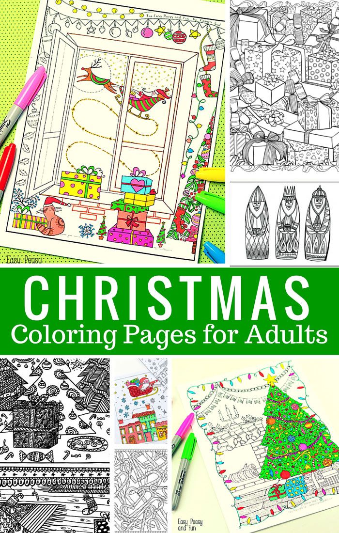 Free Printable Christmas Coloring Pages for Adults - Easy Peasy and Fun