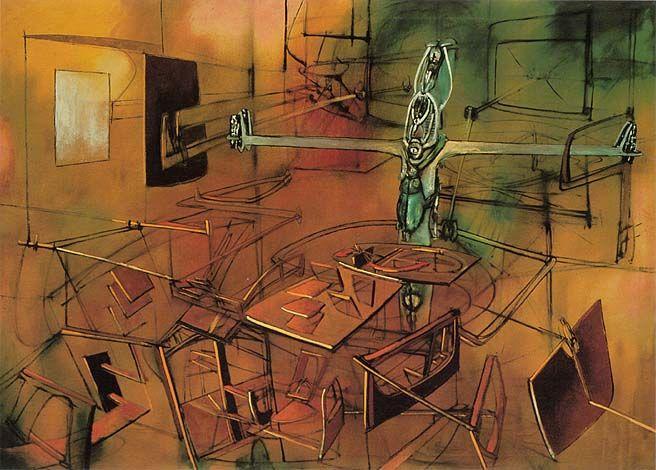 Roberto Matta, 'Una situación grave', 1946. Óleo sobre lienzo, 137.2 x 195.6 cm, Chile / arte, pintura, latin art