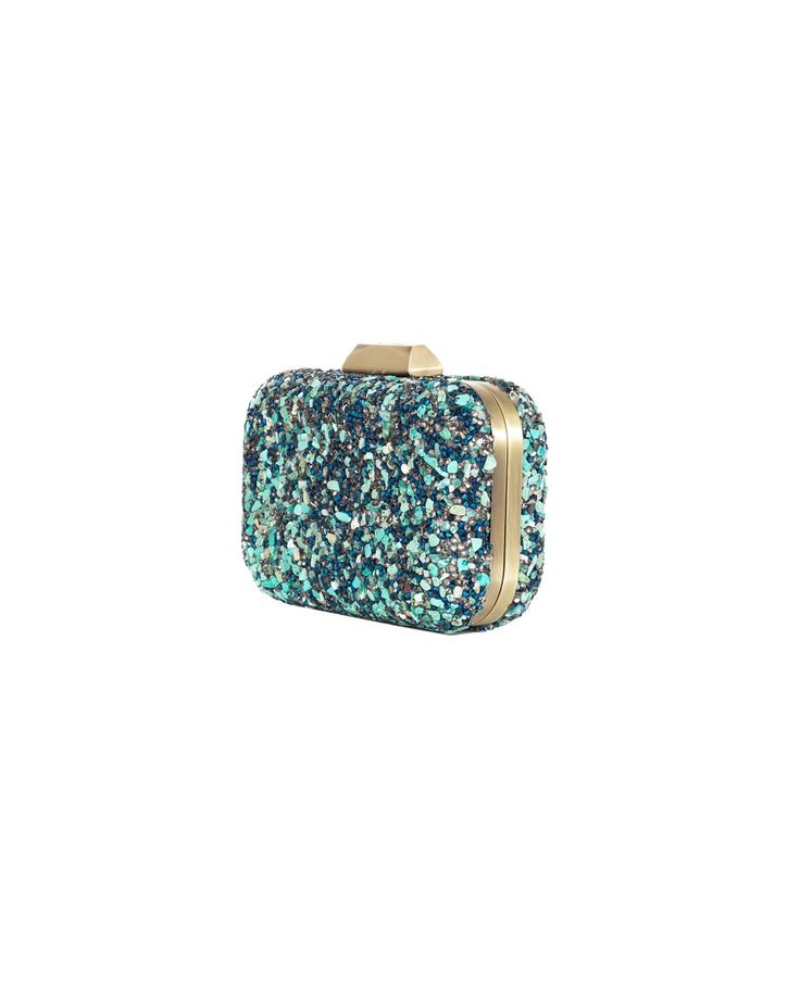 OLGA BERG CLUTCH BAG WITH STONES S/S 2016 Clutch bag with stones and rhinestones snap closure brass color trim removable shoulder strap 17x12x4,5 cm